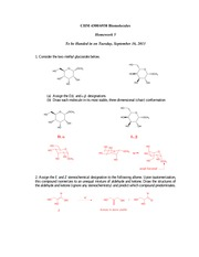 Answers to Homework 5 (Monosaccharide Reactions)
