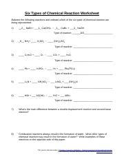 Chemical Reaction Worksheet Docx