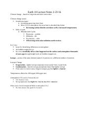 Earth 10 Lecture Notes 2-23-16