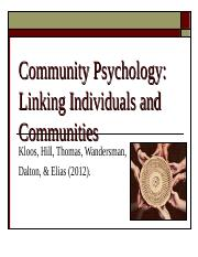 Ch 1 - Introducing Community Psychology