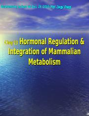 chapter 23 Integration and Hormonal regulation of mammalian metablism (Dec.29, 2016).ppt