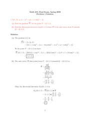 Final Exam Solution on Calculus III Spring 2009