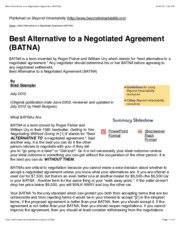 Best Alternative to a Negotiated Agreement (BATNA)