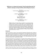 Reflections on creating an international virtual benchmarking model for authentic e-learning Crossin