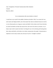 Unit 1 Assignment 2 Personal Communication Ethics Statement