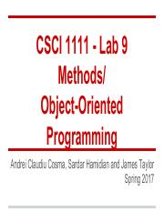 Lab09- Methods andn OOP