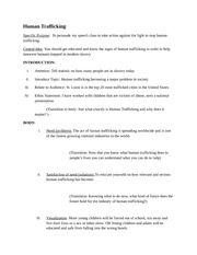 Help with essay outline for human trafficking