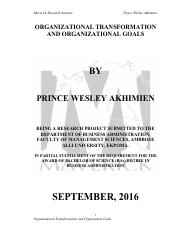 ORGANIZATIONAL TRANSFORMATION AND ORGANIZATIONAL GOALS BY PRINCE WESLEY AKHIMIEN