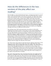 How do the differences in the two versions of the play affect our reading.docx
