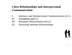 Comm 2014F Week 10 (Close Relationships & Interpersonal Communication)