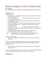 Copy of Honors Chapter 14 & 15 Study Guide.docx