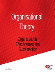 Topic 4 - Sustainability and Organisational Effectiveness.ppt