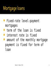 Lecture - Mortgages