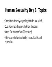 Human Sexuality Day 1