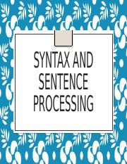 Syntax and Sentence Processing