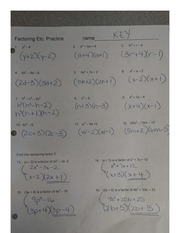 Answers Factoring Review WS