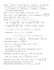 Lectures Notes Physics Formulas
