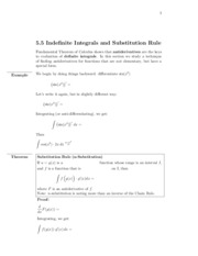 5.5 Indefinite integrals and sub rule