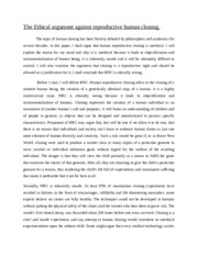 Is cloning ethical essay
