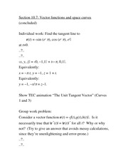 Lecture Notes arc length and curvature