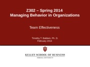 Chapter 10 - Team Effectiveness Spring 2014