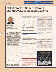 Dépréciation Goodwill IFRS