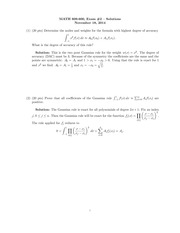 Exam 2 Solution on Numerical Analysis