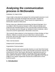 Analysing the communication process in McDonalds
