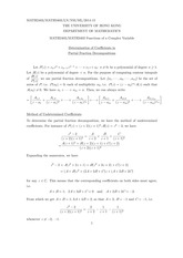 MATH 2403 Determination of Coefficients in Partial Fraction Decompositions Notes