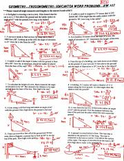 Geometry Hw 33 Trigonometry Soh Cah Toa Word Problems Worksheet Key Pdf Course Hero