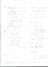 Solve by Factoring and Computing the Square Notes