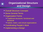 Organizational Design + personal notes