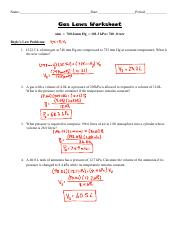 Gas Laws worksheet(1) - Worksheet Gas Laws Chapter 6 Boyles Law(6.3 ...