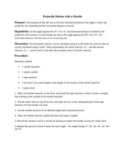 projectile motion lab report Physics Lab Report #3 Projectile Motion with a Marble - Projectile ...