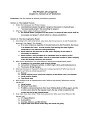 Chapter 11, Sections 4, 5 Worksheet - The Powers of Congress