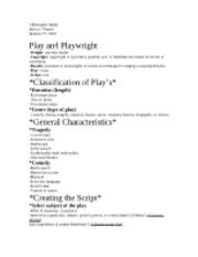 Play and Playwright