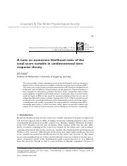 A Note on Monotone Likelihood Ratio of the Total Score Var in Unidimensional IRT - Unlu