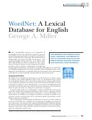 WordNet. A lexical databases for English (G. A. Miller, 1995)