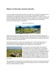 History of Libraries - Page from Course Content