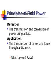 Lect 2-1 Principles of Fluid Power