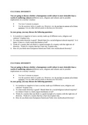CULTURAL DIVERSITY DEBATE AND EVALUATION SHEET