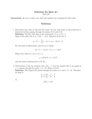 Quiz 1 Solution on Calculus