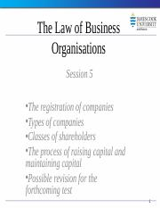 Law of Business Organisations Session 5 2014