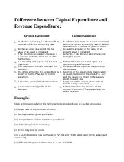 Capital Expenditure vs. Revenue expenditure