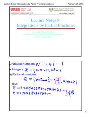 Lecture Notes 8 Integration by Partial Fractions