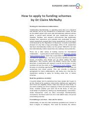 How to apply to funding schemes (1)