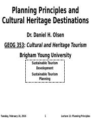 GEOG 353 W16 - Lecture 11 - Planning Principles and Cultural Heritage De... (Full Notes)