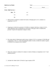 Worksheet Ideal Gas Law Worksheet Answers ideal gas law problems name date period 6 pages packet 1