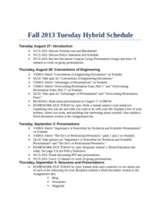 Tuesday Hybrid Schedule Fall 2013
