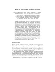 Survey of wireless ad hoc networks